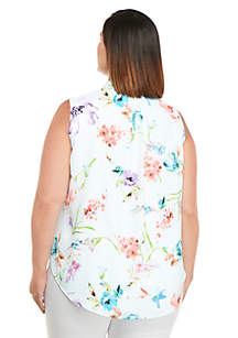 Plus Size Sleeveless Mock Neck Blouse