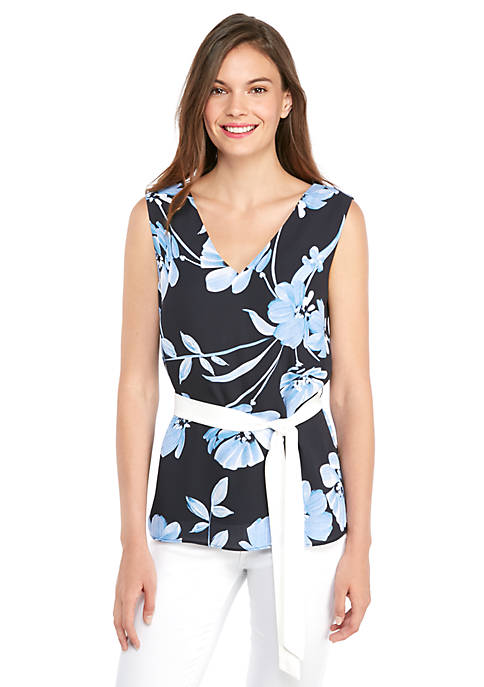 Petite Sleeveless V Neck Tie Waist Top