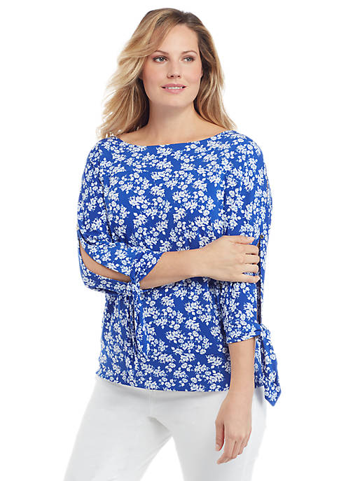 Plus Size Print Banded Bottom Knit Top