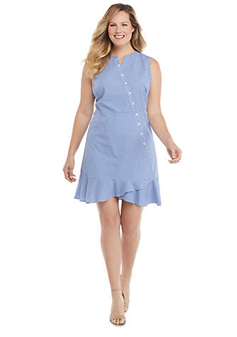 Plus Size Sleeveless Button Surplice Gingham Ruffle Hem Dress | THE ...