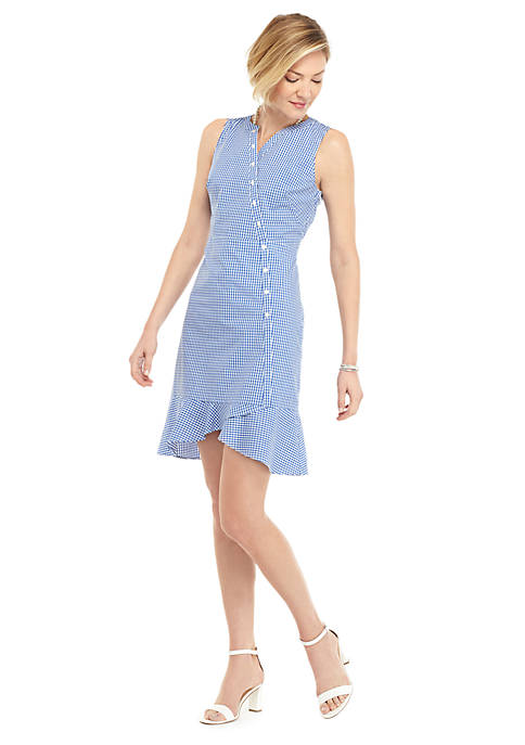 Petite Sleeveless Button Surplice Gingham Ruffle Hem Dress