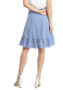 Petite Gingham Flounce Hem Tie Waist Skirt