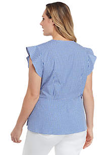 Plus Size Flutter Sleeve Surplice Gingham Top