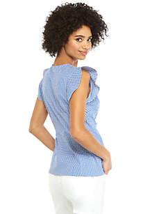Petite Flutter Sleeve Surplice Gingham Top