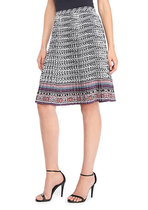 Flared Crepe Pleated Skirt