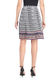 Flared Crepe Pleated Skirt