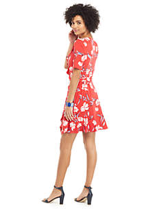 Petite Ruffle Surplice Dress with Tie