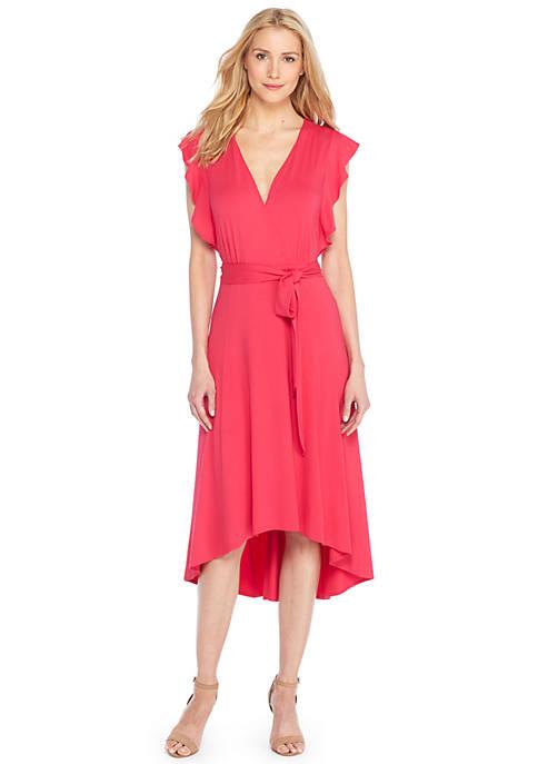 Petite Ruffle Sleeve Deep V-Neck Dress