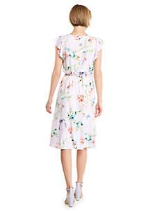 Knitted Flutter Sleeve Dress