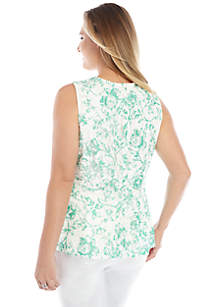 Plus Size Sleeveless Peplum Lace Top