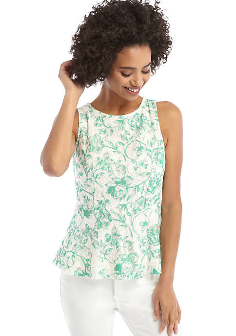 Petite Sleeveless Peplum Lace Top