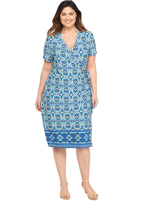 Plus Size Short Sleeve Wrap Dress