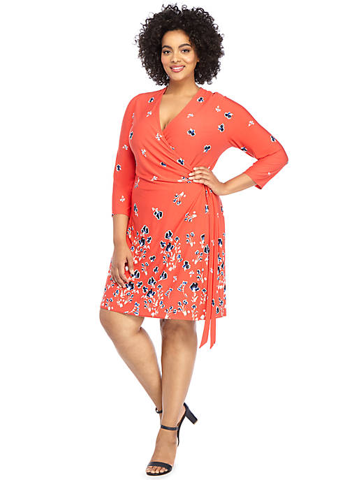Plus Size Elbow Sleeve Wrap Dress