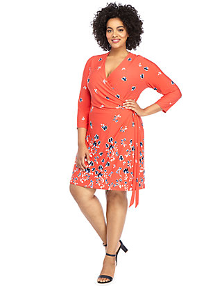 Plus Size Elbow Sleeve Wrap Dress | THE LIMITED