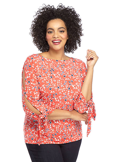 Plus Size Printed Banded Knit Top