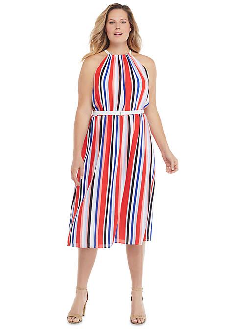 Plus Size Sleeveless Halter Dress with Belt
