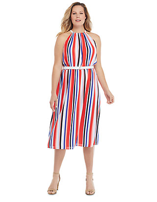 Plus Size Sleeveless Halter Dress with Belt | THE LIMITED