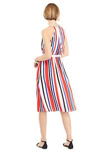 Sleeveless Halter Dress with Belt