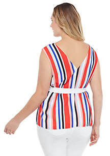 Plus Size Sleeveless V Neck Tie Waist Top