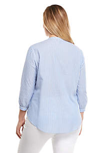 Plus Size Stripe Peasant Shirt