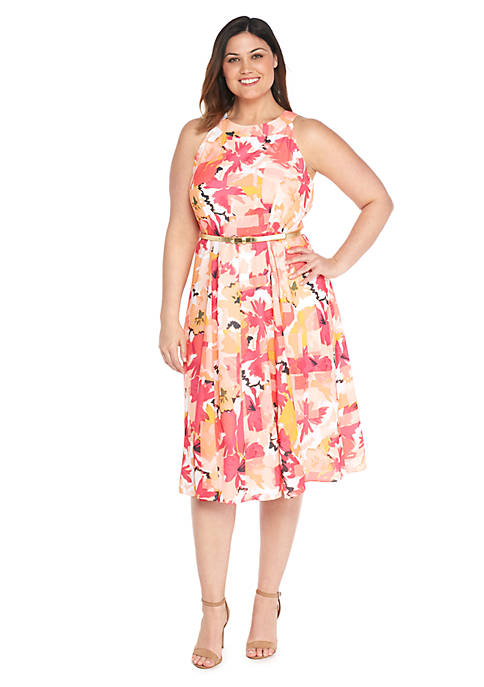 Plus Size Halter Belted Floral Dress The Limited