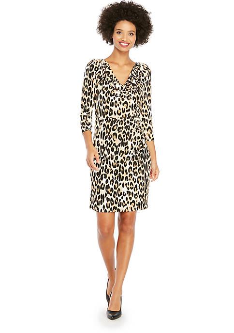 Petite Cowl Neck 3/4 Sleeve Dress