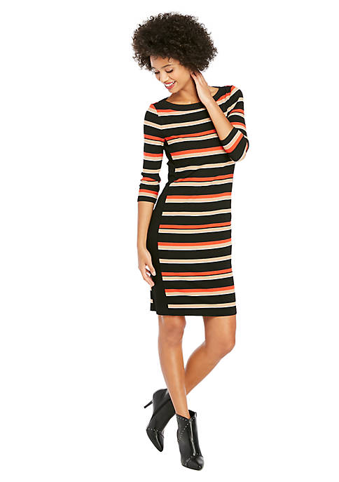 Petite 3/4 Sleeve Stripe Rib Dress