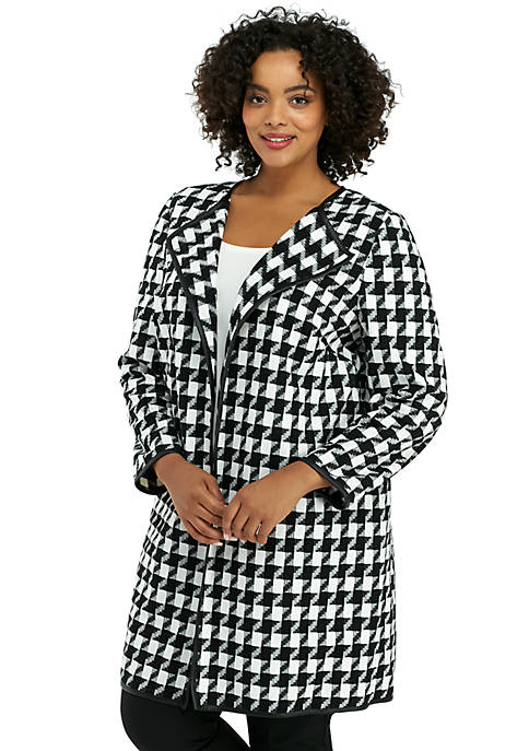 Plus Size Pleather Trim Houndstooth Jacket