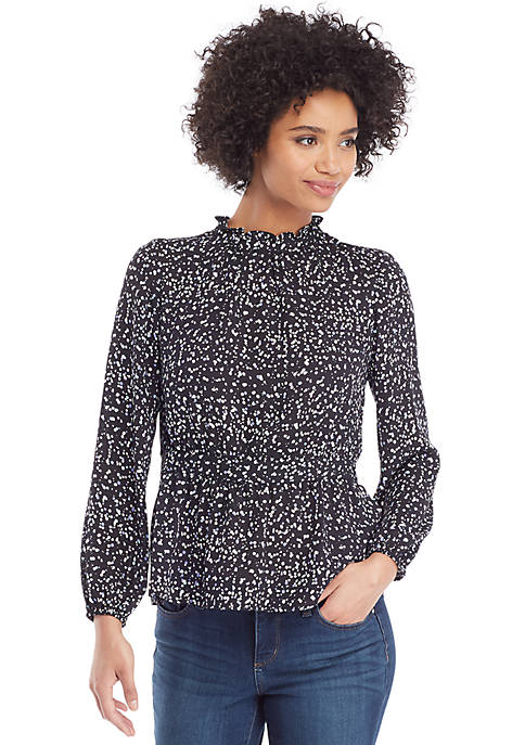 Ruffle Neck Fitted Woven Blouse
