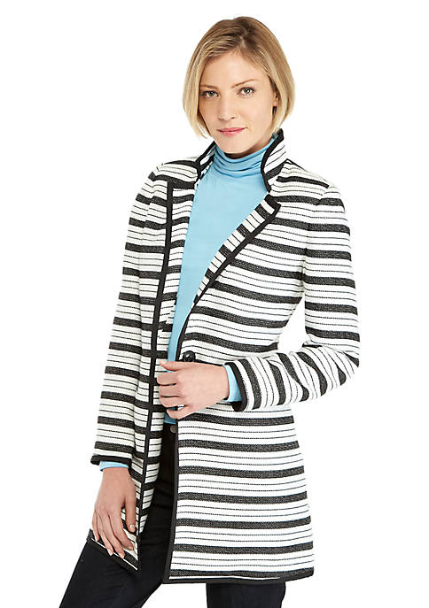 One Button Tweed Stripe Coat