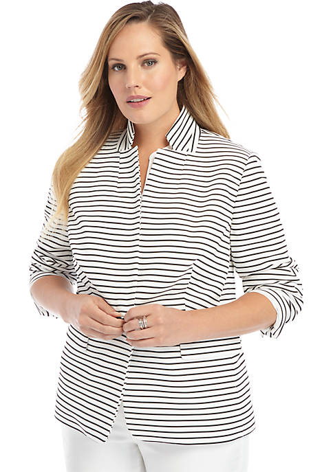 Plus Size Striped One Button Blazer