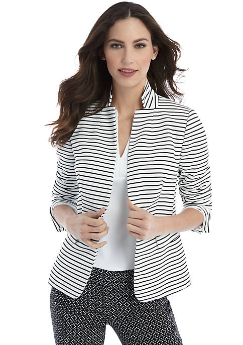 Petite Striped One Button Blazer