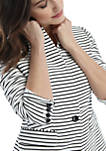 Petite Striped One Button Blazer