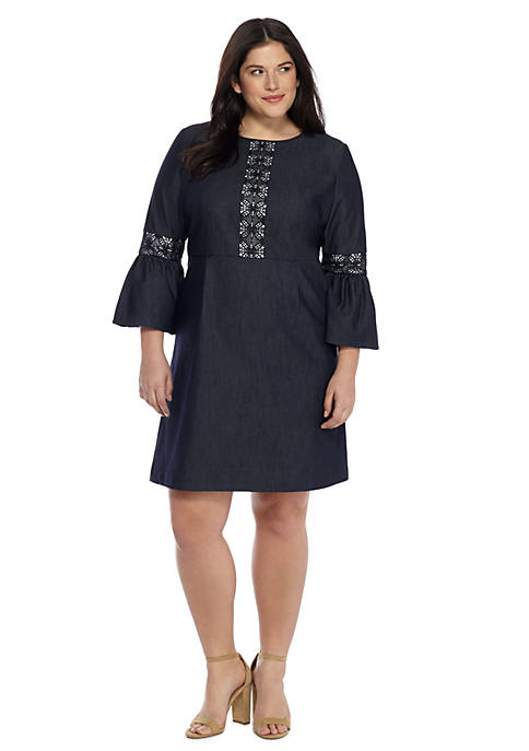 Plus Size Denim Lace Bell Sleeve Dress The Limited