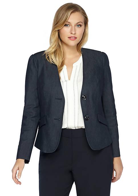 Plus Size 2 Button Career Denim Jacket
