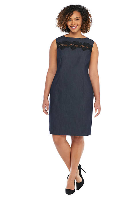 Plus Size Faux Denim and Lace Sleeveless Sheath Dress
