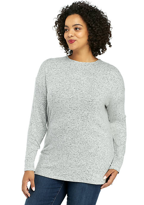 Plus Size Cozy Cross Back Pullover