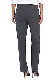 Petite Heathered Plain Weave Straight Pant