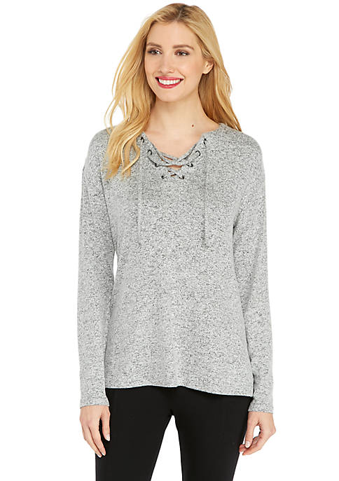 Cozy Pullover with Lace-Up Front