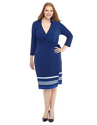Plus Size Jersey Knit Wrap Dress   THE LIMITED
