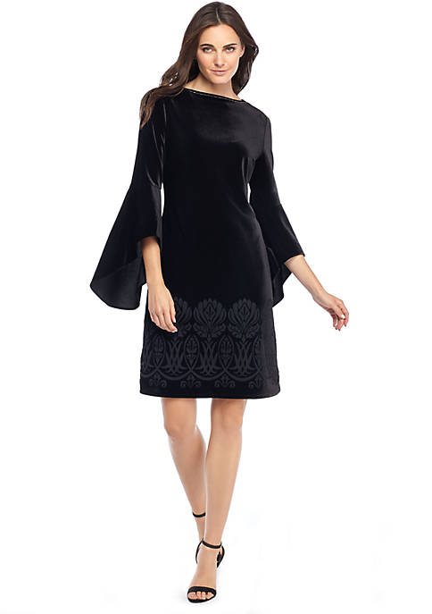 Bell Sleeve Burnout Dress