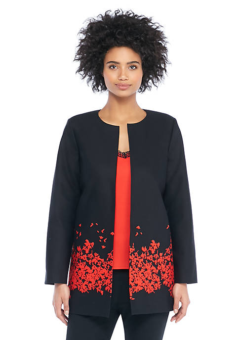Red Floral Placement Jacket