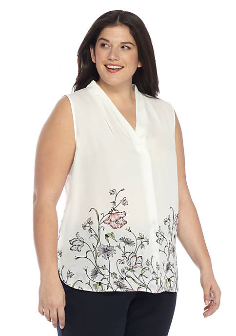 Plus Size High Neck Shell
