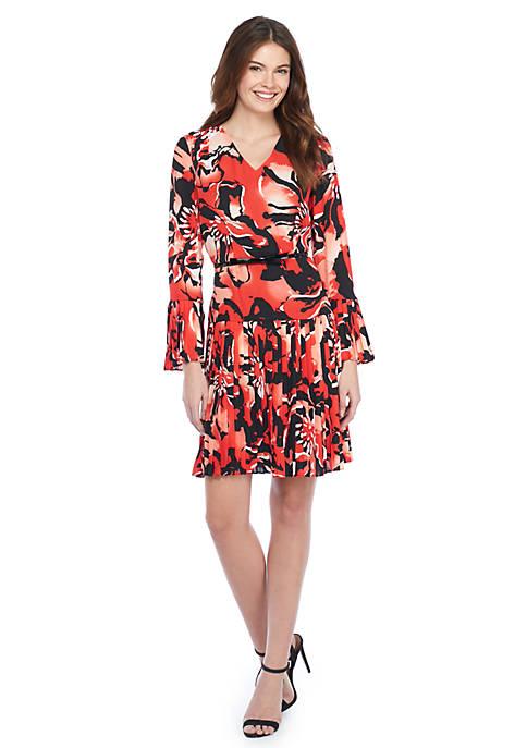 Printed Bell Sleeve Pleated Dress