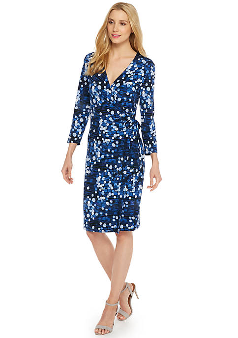 Petite Printed Wrap Dress
