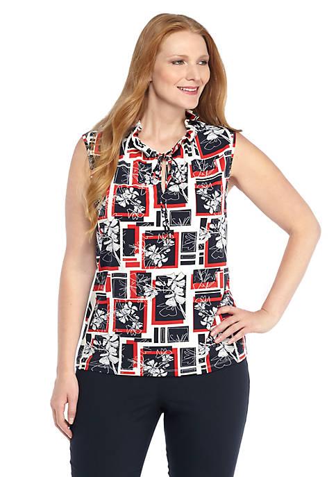 Plus Size Print Tie Neck Top
