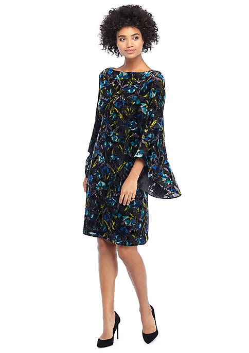 Pleated Bell Sleeve Burnout Dress