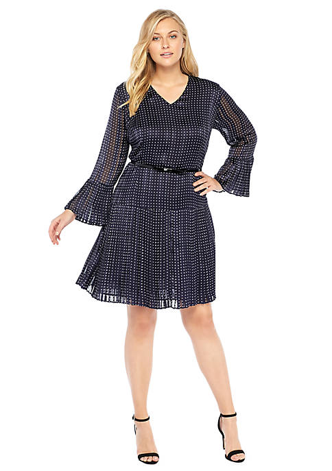 Plus Size Pleated Bell Sleeve Dress The Limited
