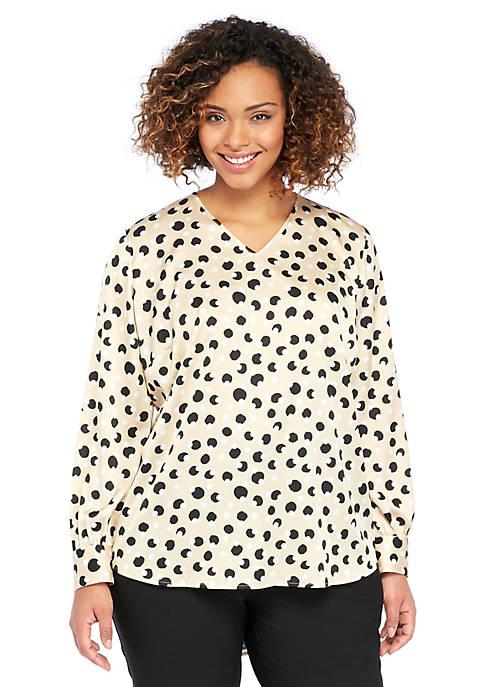 Plus Size Puff Sleeve V-Neck Blouse