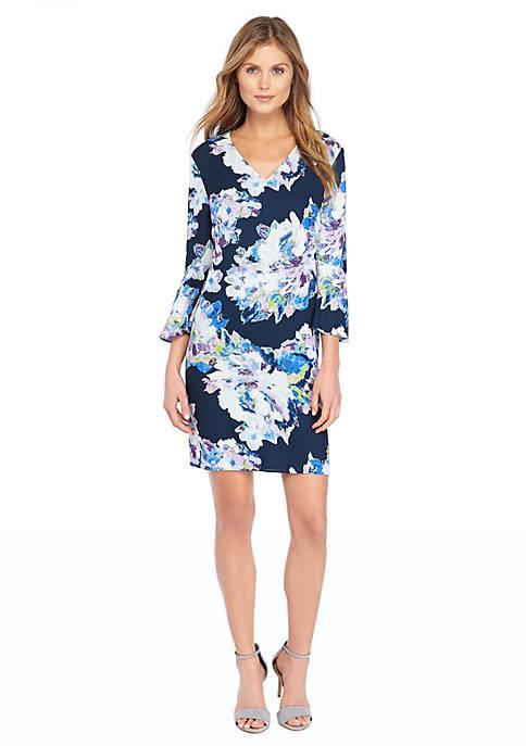 Petite Bell Sleeve Fluid Crepe Dress